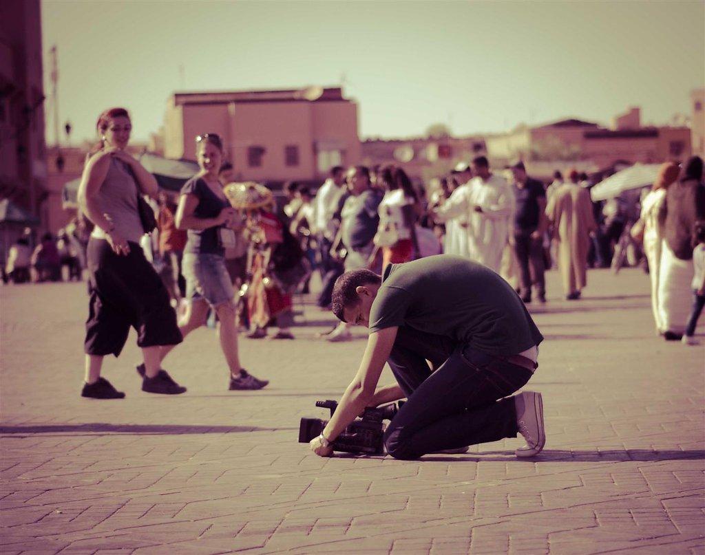 Filming Jamaa El Fna square